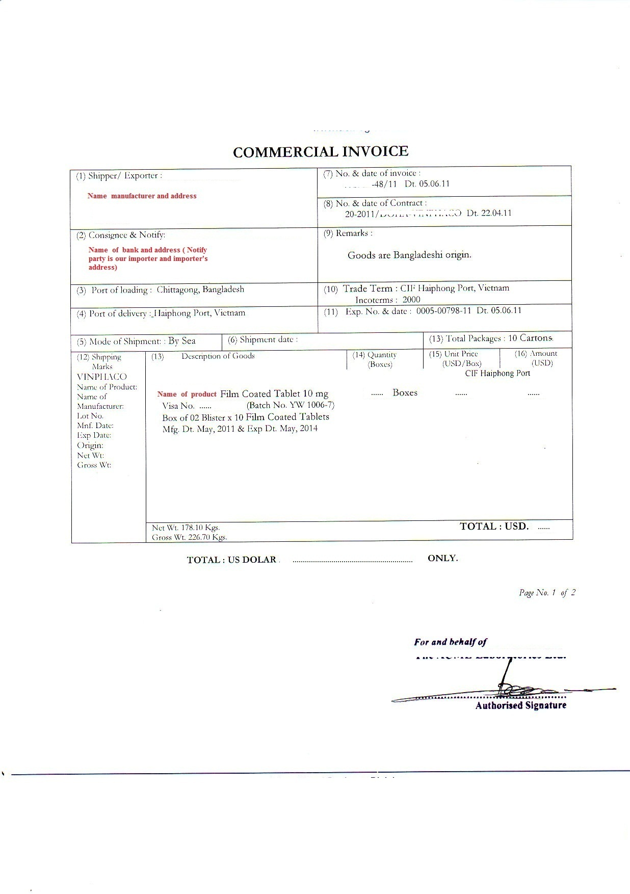 Shipping document – Sample Shipping Invoice